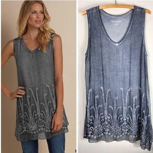 Soft Surroundings Gray Silk Embellished Tunic